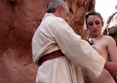 A sexy Jedi princess has her ass penetrated by the old master