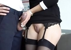 Elegant amateur babe in stockings delivers a special handjob