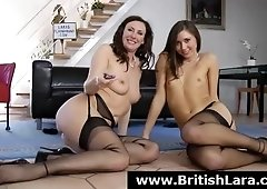 Horny British MILF in stockings and high heels loves threesomes