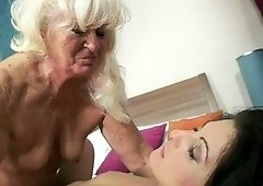 Leathery hands GILF fingering a tight, beautiful young hole
