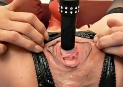 Urethral hole gets toyed for this anal fisted slave slut