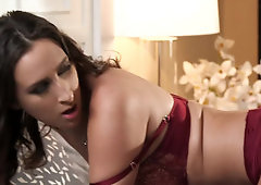 Ashley Adams and bearded husband practice morning sex in bedroom