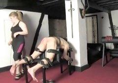 FFFM 3 mistresses caning  Spanking