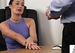 Femdom office babe humiliating sub guy