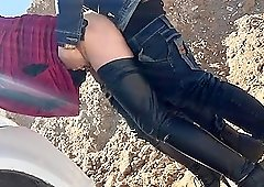Horny babe in high heels gets fucked hard outdoors.