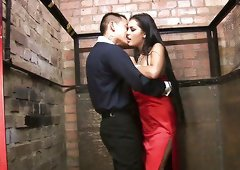 Leggy brunette in heels gets banged from behind
