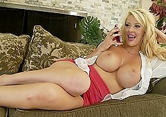 Busty blonde MILF Courtney Taylor rides a cock with her big ass
