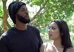 Black dude pounds his sexy girlfriend outdoors