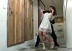 Buxom Japanese hot lady Sayaka Fukuyama gets hairy pussy drilled by dudes