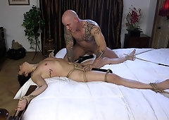 Latina babe Vanessa Sky fucked with her hands and feet tied