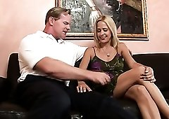 Slender lovely leggy blond head Payton Leigh undresses to win some cock
