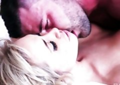 Curvy blonde Karlie Simon is having passionate sex with her lover
