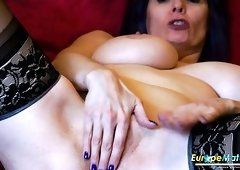 Lewd wrinkled housewife with purple hair Tigger masturbates her wet pussy