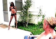 Skinny ebony in polka dot bikini lap dancing on white long