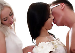 Nerdy guy has threesome with wife-to-be and her bridesmaid