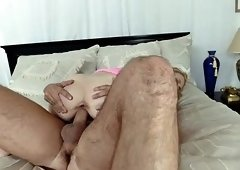 Horny blonde Kennedy Kressler munches on her stepson's cock