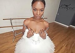 Hot ebony ballerina is about to get properly trained