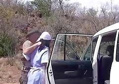 hot cholocalde african babe in her first extreme wild safari tour threesome fuck orgy