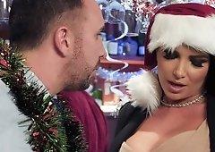 Four gorgeous pornactresses make Christmas surprise for womanizer