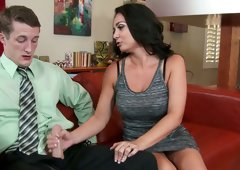 Stunning brunette sexpot Holly West blows delicious cock of Brick Danger