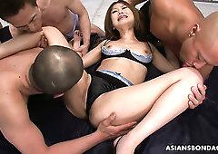 Kinky chestnut haired Japanese cowgirl Hibiki Otsuki takes double penetration