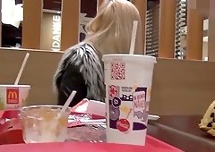 Cute German Amateur Teen Public Fastfood Restaurant Swallow POV