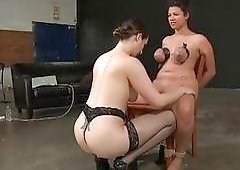 Luscious bitch gets her nose in some really painful bondage