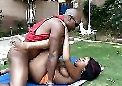 Banging his black girl in the backyard