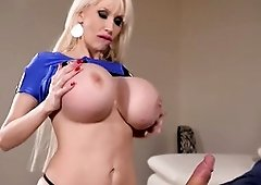 B-Day blessing and hard-core orb pummel with huge-titted blond Sandra Starlet