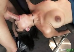 Asian beauty with pretty makeup Jade Kush keeps on sucking strong dick
