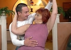 Flabby granny gets her pussy licked and fucked by a young guy