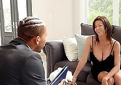 Alexis Fawx masturbates on the couch until a cock comes by to fuck her