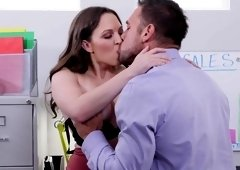Horny brunette fucked by her co-worker in the office