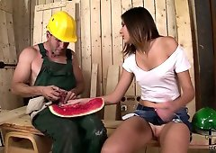 Lucky bitch gets fucked hard by cable laying specialist in sex den