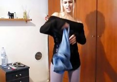 Sasha Blonde Playing In Her Room