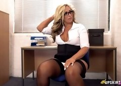 Awesome rounded bum of lovely British MILFie secretary is flashed