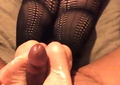Brown bbw fudge footjob feet