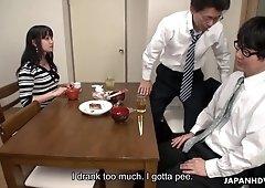 Asian slut Risa Kurokawa gets banged under the nose of one sleeping co-worker