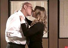 Nerd boss fucks sex-appeal and insatiable secretary Angelica Raven