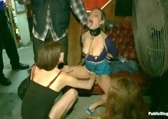 Tiny Blonde Fucked in a Biker Bar and Used as Human Ashtray