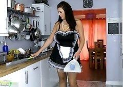Mature bitch in sexy maid uniform Lulu is masturbating her twat
