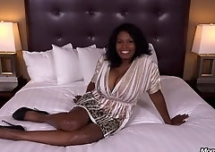 Alluring breasty black mature female is blowing my cock