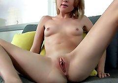 Skinny blue eyed blonde sits her shaved pussy on his boner