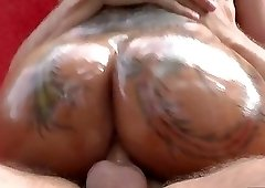 Brunette with beautiful hair and body chosen by man with huge cock