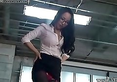 Japanese Femdom Face Trampling and Whipping