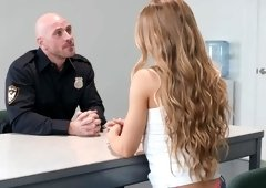 Nicole Aniston sucks and fucks cop's huge cock & gets facialed