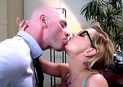 This big cock is about to penetrate pretty secretary's cunt