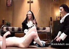 Nun mistresses anal fucks sis in bondage