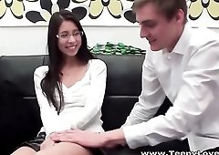 Nerd slut in a skirt sits on a big dick and rides