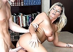 Big tits office pussy cramming